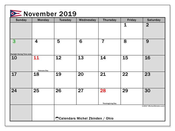 November 2019 Calendar, with the holidays of Ohio. Holidays calendar to print free.