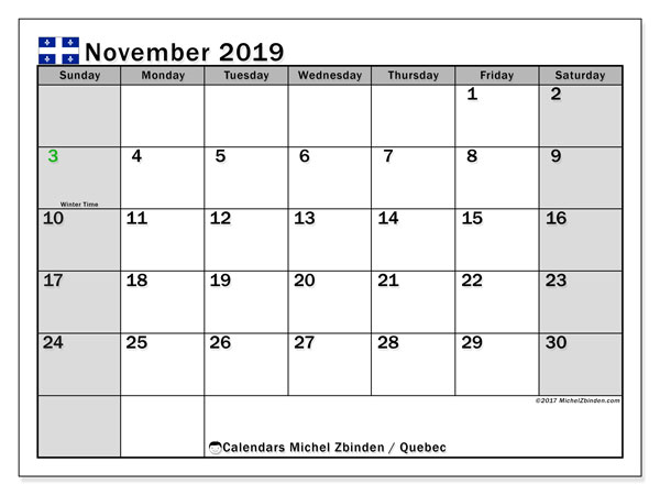 Calendar November 2019, with the holidays of Quebec. Free printable monthly calendar.