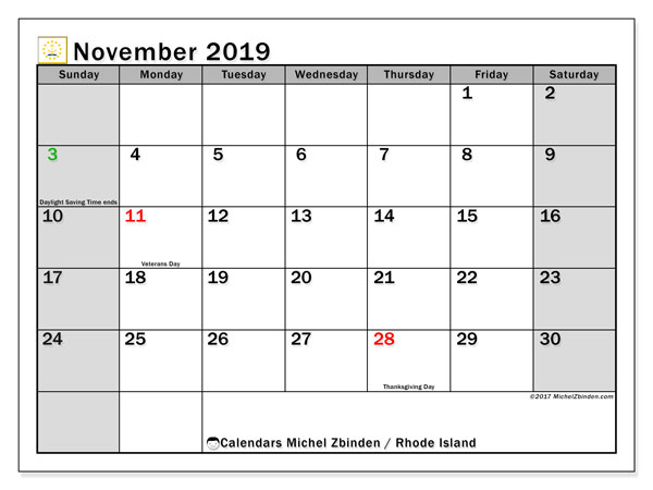 November 2019 Calendar, with the holidays of Rhode Island. Free printable calendar with public holidays.