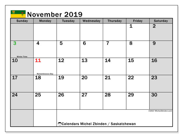 Calendar November 2019, with the holidays of Saskatchewan. Calendar to print free.