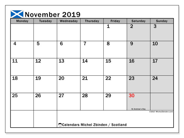 November 2019 Calendar, with the holidays of Scotland. Free printable calendar with public holidays.