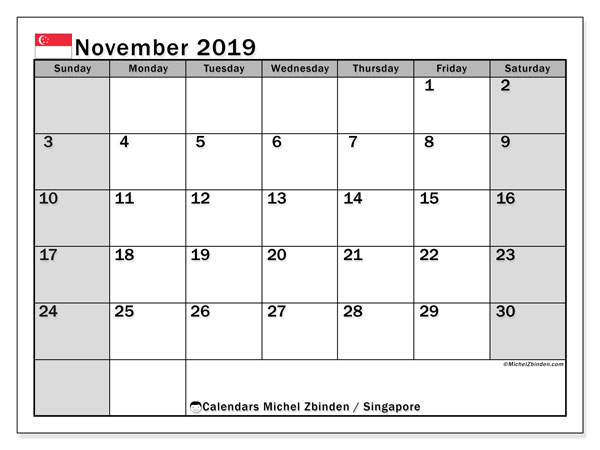 November 2019 Calendar, with the holidays of Singapore. Free printable calendar with public holidays.