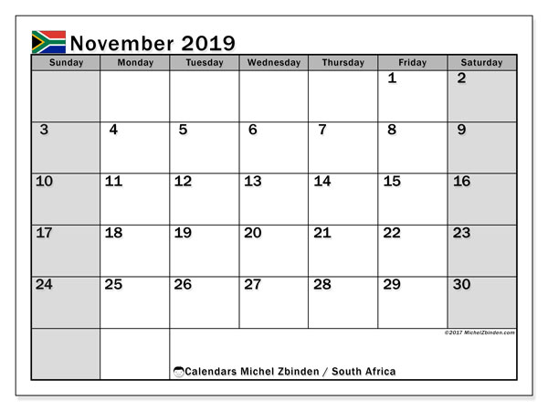 Calendar November 2019, with the holidays of South Africa. Calendar for the month to print free.