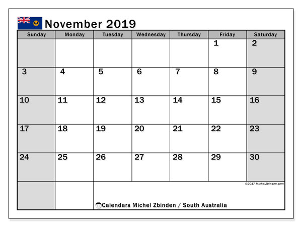November 2019 Calendar, with the holidays of South Australia. Free printable calendar with public holidays.