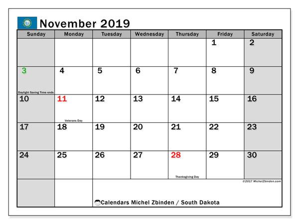 November 2019 Calendar, with the holidays of South Dakota. Holidays calendar to print free.