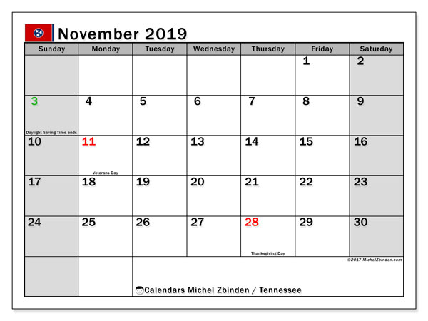 November 2019 Calendar, with the holidays of Tennessee. Holidays calendar to print free.