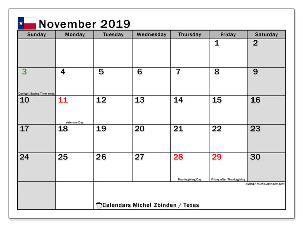 November 2019 Calendar, with the holidays of Texas. Holidays calendar to print free.