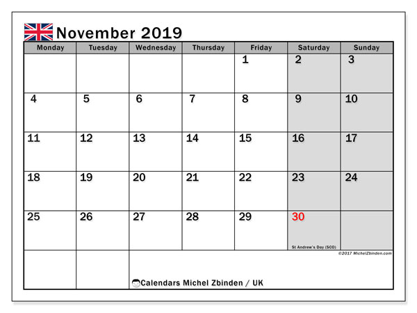 Calendar November 2019, with the holidays of the UK. Planner to print free.