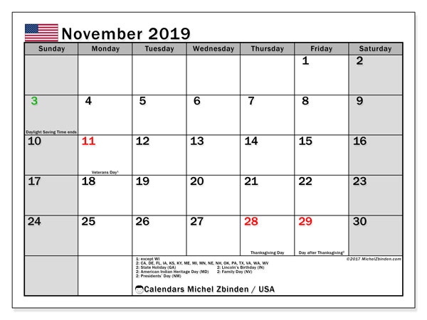 November 2019 Calendar, with the holidays of the USA. Free printable calendar with public holidays.