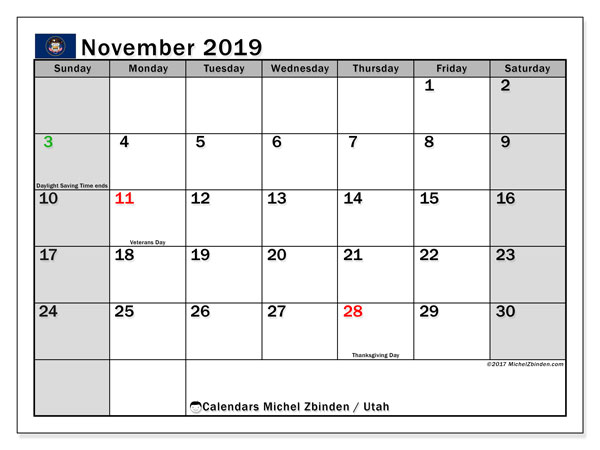 November 2019 Calendar, with the holidays of Utah. Free printable calendar with public holidays.