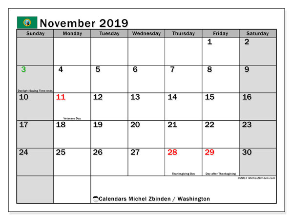 November 2019 Calendar, with the holidays of Washington. Free printable calendar with public holidays.