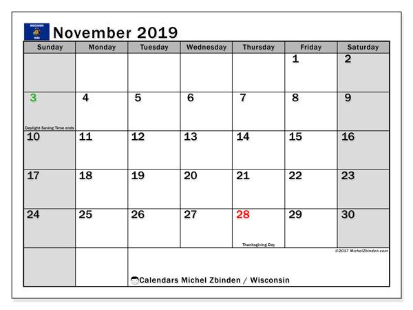 November 2019 Calendar, with the holidays of Wisconsin. Holidays calendar to print free.