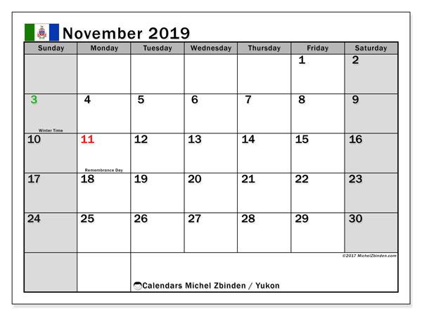 November 2019 Calendar, with the holidays of Yukon. Holidays calendar to print free.