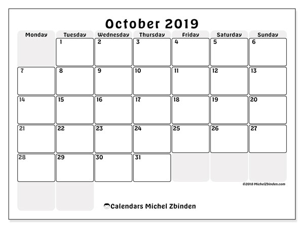 October 2019 Calendar, 44MS. Free bullet journal to print.