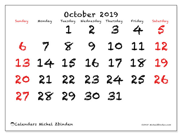 October 2019 Calendar, 46SS. Planner to print free.