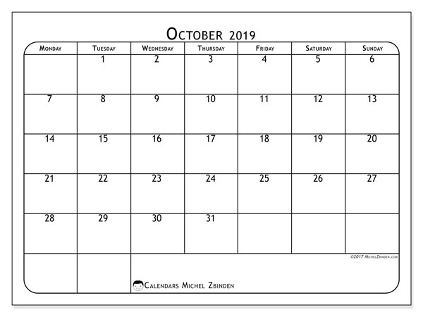 October 2019 Calendar, 51MS. Free calendar to print.