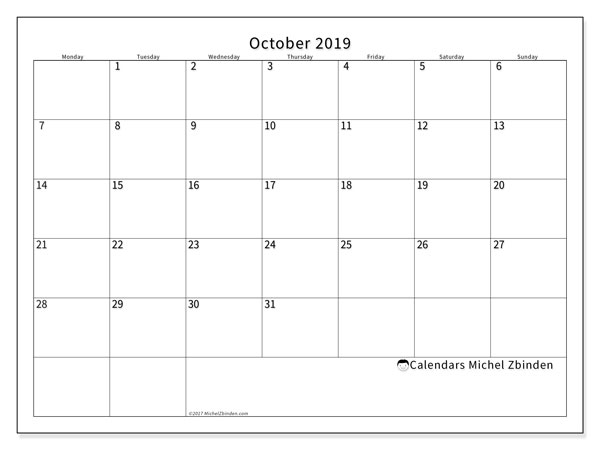 October 2019 Calendar, 53MS. Free bullet journal to print.