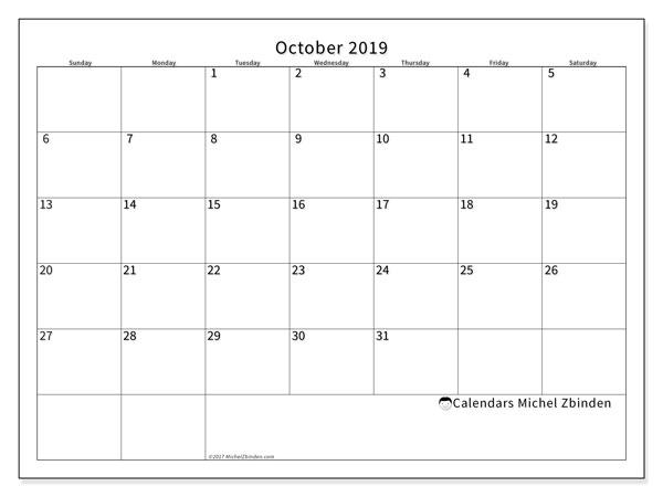 October 2019 Calendar, 53SS. Calendar to print free.