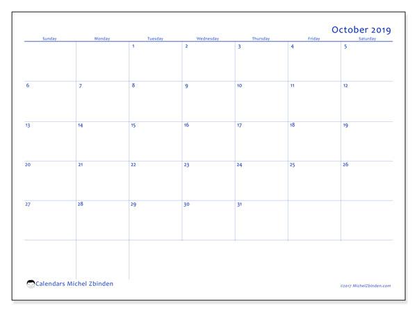 October 2019 Calendar, 55SS. Free bullet journal to print.