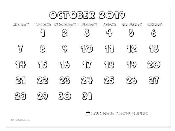 October 2019 Calendar, 56MS. Free printable calendar.