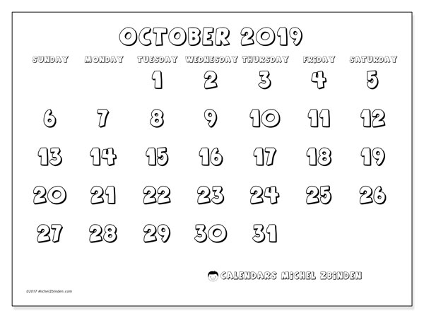 October 2019 Calendar, 56SS. Monthly calendar to print free.