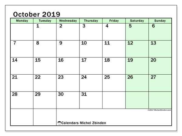 October 2019 Calendar, 60MS. Free planner to print.