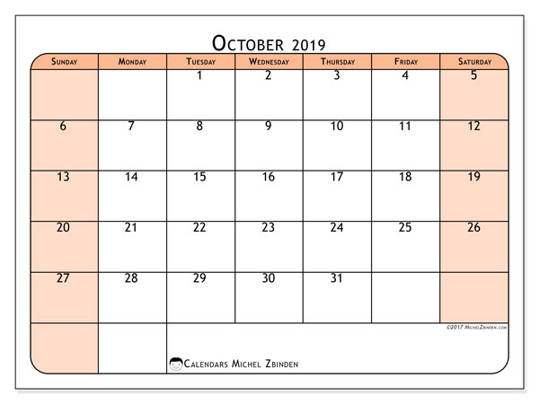 October 2019 Calendar, 61SS. Calendar for the month to print free.