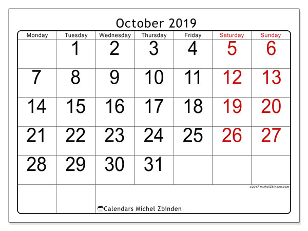 October 2019 Calendar, 62MS. Free printable monthly planner.