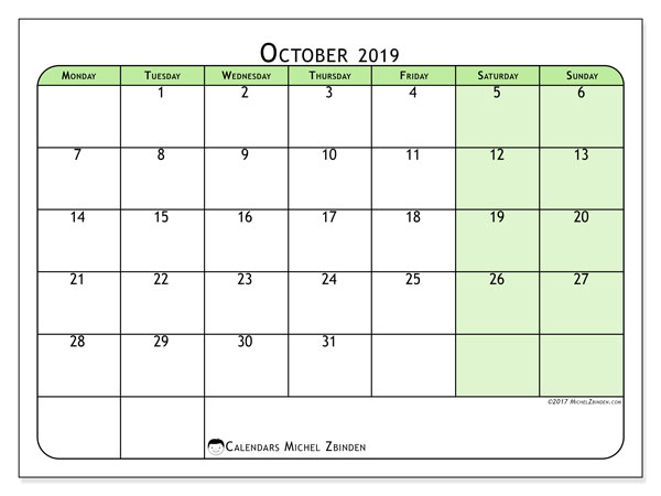 October 2019 Calendar, 65MS. Calendar for the month to print free.
