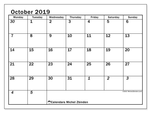October 2019 Calendar, 66MS. Bullet journal to print free.