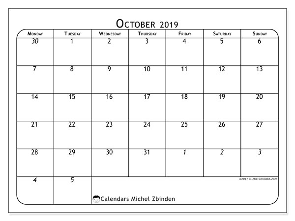 October 2019 Calendar, 67MS. Free printable monthly planner.