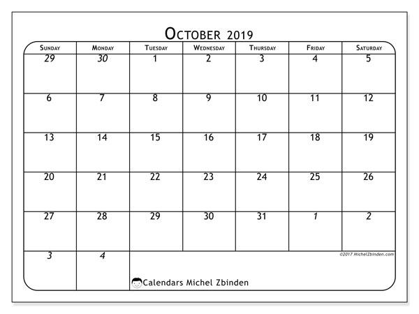 October 2019 Calendar, 67SS. Free printable planner.
