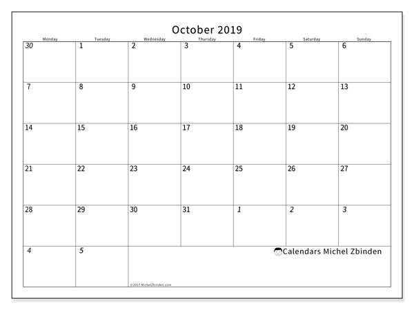 October 2019 Calendar, 70MS. Free printable monthly calendar.