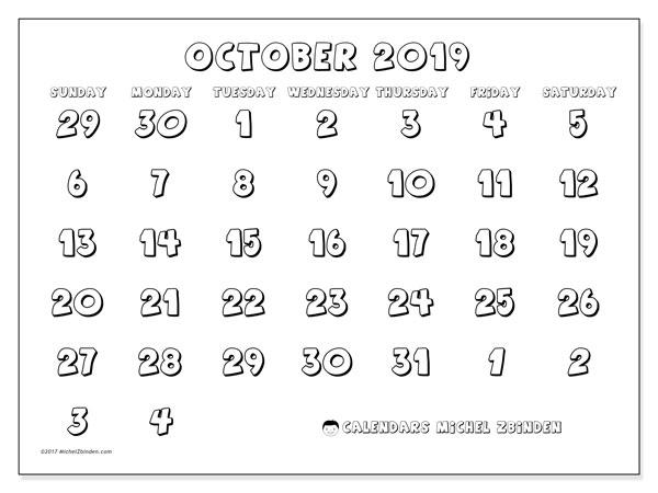 Calendar  October 2019, 71SS