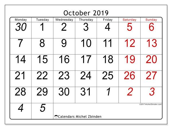 Calendar  October 2019, 72MS