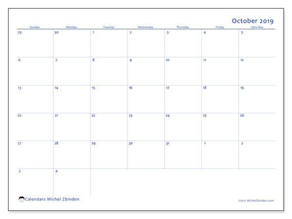 October 2019 Calendar, 73SS. Planner to print free.