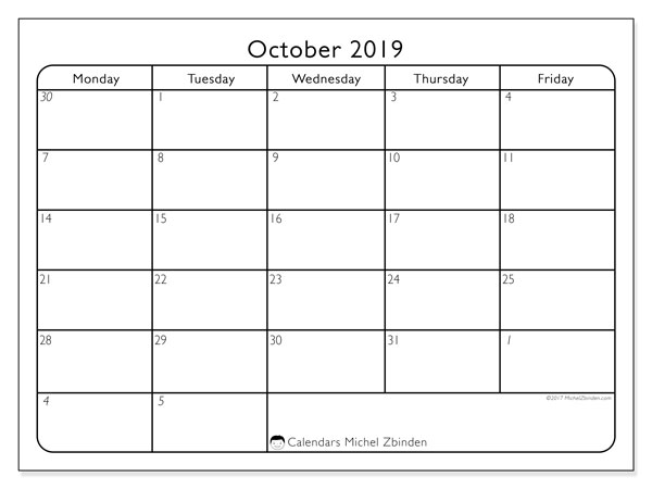October 2019 Calendar, 74SS. Free printable monthly calendar.