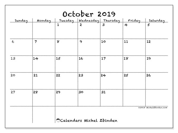October 2019 Calendar, 77SS. Monthly planner to print free.