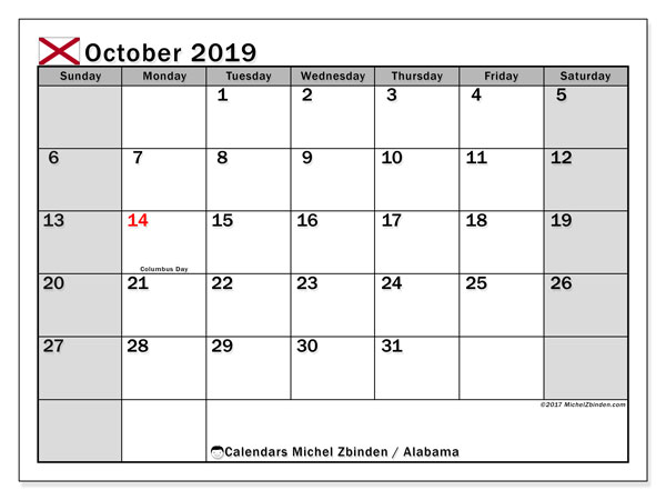 October 2019 Calendar, with the holidays of Alabama. Holidays calendar to print free.