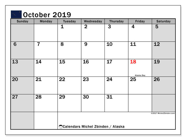 October 2019 Calendar, with the holidays of Alaska. Holidays calendar to print free.