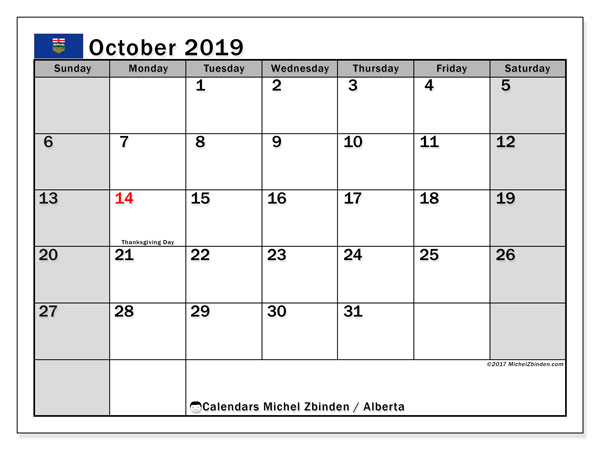 Calendar October 2019, with the holidays of Alberta. Monthly calendar to print free.