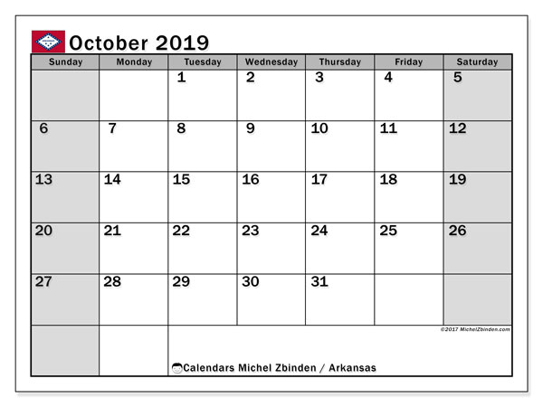 October 2019 Calendar, with the holidays of Arkansas. Holidays calendar to print free.
