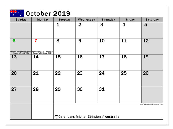 Calendar October 2019, with the holidays of Australia. Free printable monthly calendar.