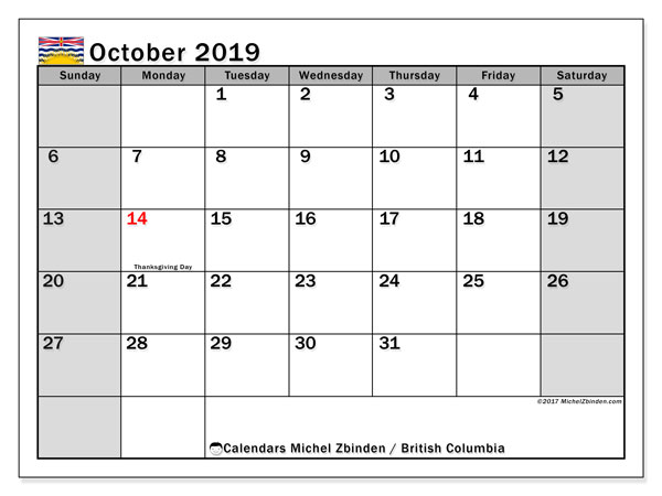 October 2019 Calendar, with the holidays of British Columbia. Holidays calendar to print free.