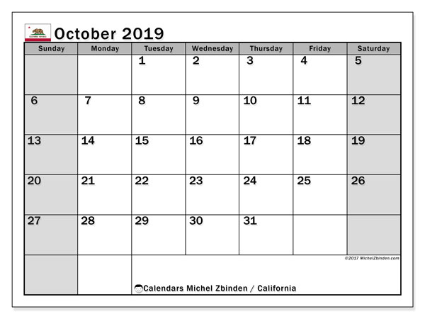 October 2019 Calendar, with the holidays of California. Free printable calendar with public holidays.