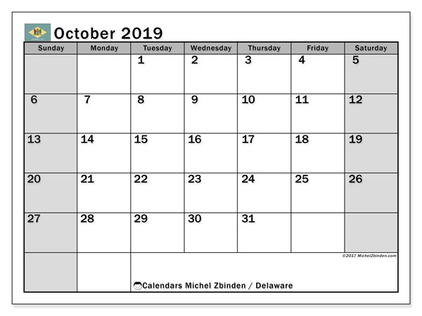 October 2019 Calendar, with the holidays of Delaware. Free printable calendar with public holidays.