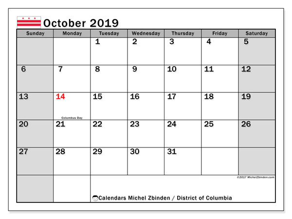 October 2019 Calendar, with the District of Columbia holidays. Holidays calendar to print free.