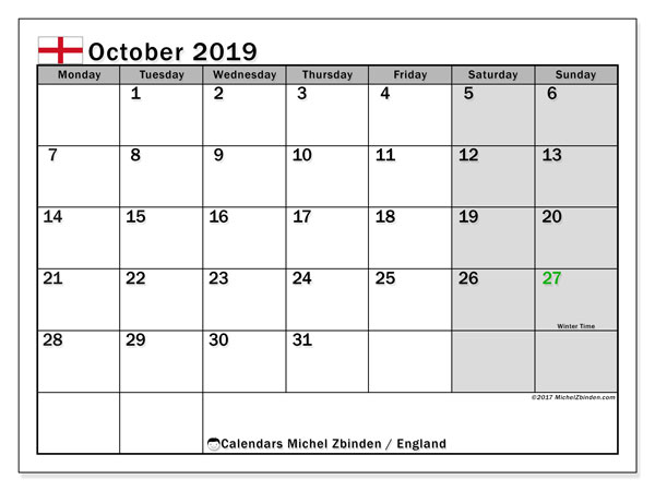 Calendar October 2019, with the holidays of England. Free printable calendar.