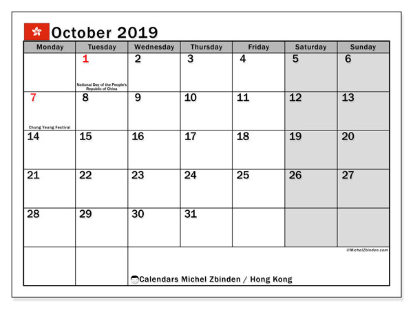 October 2019 Calendar, with the holidays of Hong Kong. Free printable calendar with public holidays.