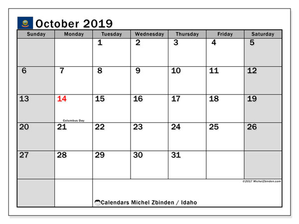 October 2019 Calendar, with the holidays of Idaho. Holidays calendar to print free.